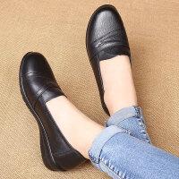 妈妈单鞋真皮软底大码平底透气防滑中老年皮鞋软皮老人鞋女工作鞋 黑色