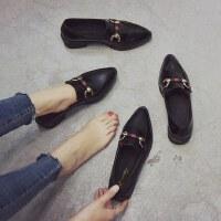 户外英伦风复古小皮鞋女学生尖头粗跟单鞋时尚女鞋子