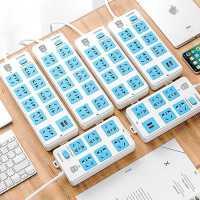 插座面板多孔usb插板�Ь�多口10位多用功能插排插接�板3/5米�L�