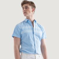 七匹狼短袖条纹衬衫男士青年2019夏季时尚商务英伦韩版休闲