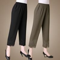 中年夏装妈妈装宽松九分裤 中老年女装时尚雪纺裤大码裤子薄