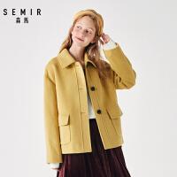 【到手价:189元,春装上新季!】森马冬季新款外套女短款翻领知性优雅工装风毛呢大衣舒适保暖