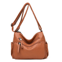 新款女包真质感软皮妈妈包单肩包大容量多层女士斜挎包中老年手挽手提包