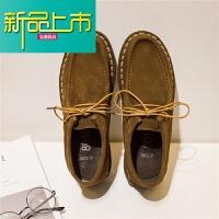 新品上市手工男鞋男士反绒皮真皮皮鞋 复古英伦风鞋休闲鞋子板鞋潮鞋