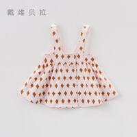 [限时3折价:48.9]davebella戴维贝拉秋季新款女童宝宝格子吊带裙DBA7985