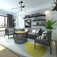 北欧布艺沙发组合日式客厅沙发转角 会客简约现代工业风沙发椅套组 组合