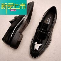 新品上市新款漆皮厚底一脚蹬男鞋韩版百搭男士休闲皮鞋男真皮英伦鞋潮