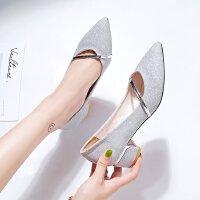 高跟鞋女粗跟新款2018高跟低跟三厘米银色伴娘鞋亮片礼服学生单鞋