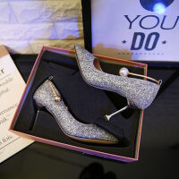 水晶鞋婚鞋高跟婚纱照鞋白色灰姑娘珍珠单鞋新娘结婚鞋女2019新款