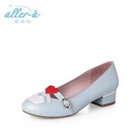 爱旅儿哈森旗下玛丽珍鞋韩版爱心低跟方跟浅口单鞋女ES71505