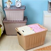 塑料收纳箱大号整理箱衣服分类箱子 带提手有轮子