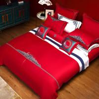 水星家纺 全棉绣花六件套大红婚庆套件床单被套床上用品 海约山盟