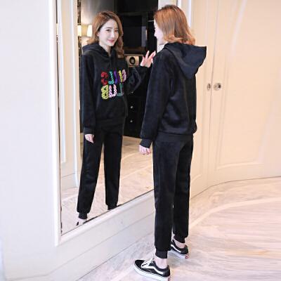 两件套冬季运动套装潮 孕妇秋冬装套装时尚款2018新款加绒厚卫衣