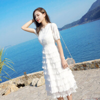 很仙的法国小众复古山本超仙女过膝白色沙滩长裙子蛋糕连衣裙夏季