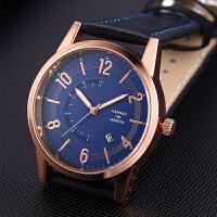 运动休闲皮带钟手表 新款石英日历手表watch男士时尚防水表