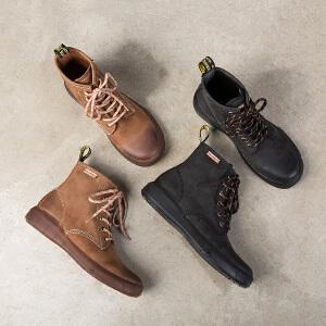 玛菲玛图秋款靴子女磨砂牛皮复古短靴圆头中跟平底及踝靴街头风系带马丁靴5310-2