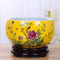 黄色圆形种花盆特大号景德镇陶瓷水培盆家用养睡碗莲盆金鱼缸摆件 中等
