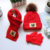 【三件套】秋冬儿童帽子围巾宝宝加绒厚保暖男女童套头帽围脖手套