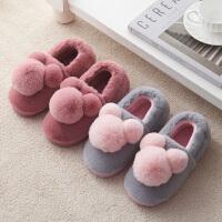 棉拖鞋女冬季包跟室内居家用保暖防滑厚底毛毛绒可爱卡通秋月子鞋