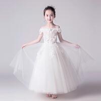 小主持人钢琴演出服女童走秀服夏季儿童礼服公主裙花童白色婚纱蓬蓬纱裙