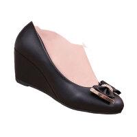 女鞋春秋新款女坡跟单鞋韩版中跟高跟女士时尚小皮鞋秋鞋