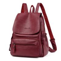 新款韩版潮百搭时尚双肩包女士pu软皮休闲旅行背包小清新书包