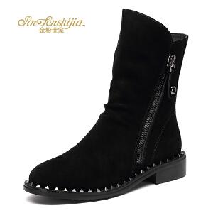 红蜻蜓旗下品牌金粉世家女鞋秋冬休闲鞋鞋子女女靴子短靴JGC1408
