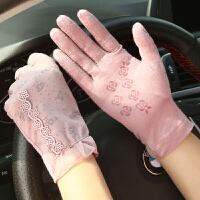 手套女春季短款蕾丝防晒手套可爱韩版骑车开车防滑薄款透气紫外线