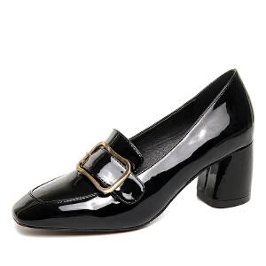 【活动中】小红人高跟单鞋女粗跟春季方头漆皮鞋英伦风女鞋金属扣浅口方扣鞋 PU
