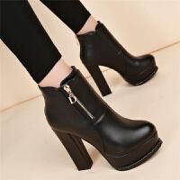 2018秋冬新款英伦风女靴高跟鞋粗跟加绒马丁靴女厚底防水台短靴潮 黑色