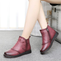 ����鞋棉鞋女冬中老年加�q保暖短靴平底老人皮鞋滑中年女鞋