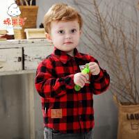 【2.5折价:36.8元】棉果果童装男童格子衬衣长袖秋冬洋气男生外套