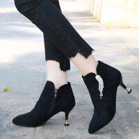 韩版性感马丁靴女细跟高跟单根5厘米短靴加绒水钻尖头显瘦秋冬季