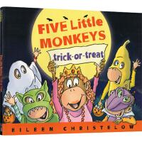 英文原版 Five Little Monkeys Trick-Or-Treat 五只小猴不给糖就捣蛋 廖彩杏书单 儿童