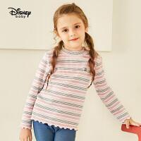 【2件3折价:41.7】迪士尼童装女童半高领打底衫春秋儿童上衣宝宝可爱花边长袖t恤