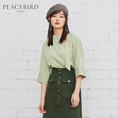 绿色半高领镂空挂脖雪纺衫女春季2019新款宽松落肩袖小清新上衣女 可调节半高领 背部系带设计