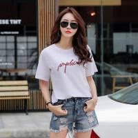 夏季新款韩版宽松纯色t恤女学生短袖上衣休闲棉上衣