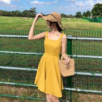 2019新款女装夏沙滩裙短裙海边度假小个子露背吊带裙子黄色连衣裙 黄色