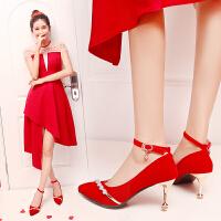婚鞋女2018新款红色高跟鞋尖头细跟结婚鞋红鞋韩版敬酒中跟新娘鞋