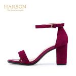 【秋冬新款 限时1折起】哈森夏季一字型全凉鞋子女鞋一字扣HM76015