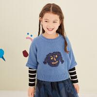 【3件7折价:139.3元】马拉丁童装女童毛衣秋装新款洋气设计斗篷蝙蝠袖红色毛针织衫