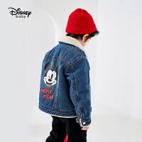 【今日3折�A估�r:119.7元】迪士尼男童加�q牛仔外套秋冬新款���饪ㄍ�米奇�和�����保暖外套