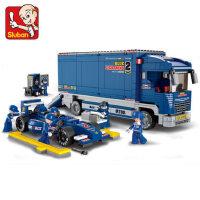 小鲁班拼装积木益智早教拼插玩具儿童F1赛车组合小颗粒模型大卡车