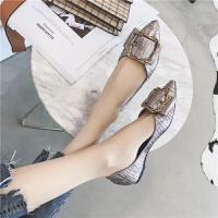 2018春夏新款时尚女鞋尖头浅口方扣OL舒适低跟韩版舒适平底单鞋