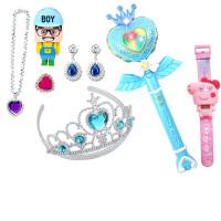 巴啦啦小魔仙玩具 魔法棒女孩发光音乐棒娃娃手提袋投影闪玩具公主头饰 8件套蓝色(送电池) 270B款蓝