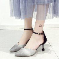 亮片法式少女高跟鞋女户外时尚尖头凉鞋女细跟仙女风单鞋