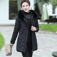新品中老年女冬装羽绒洋气棉衣外套45岁55高贵妈妈中长款棉袄