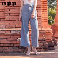 【5折价170】Lagogo/拉谷谷2019年春季新款女怀旧阔腿休闲裤IAKK43ZG82