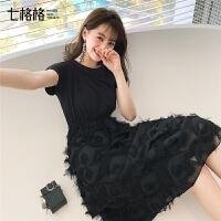 七格格蛋糕裙连衣裙很仙2019新款夏季韩版短袖学生气质中长款裙子