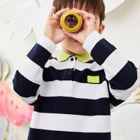 【6折价:183.06元】马拉丁童装男大童T恤春装2020年新款撞色条纹衫儿童长袖T恤